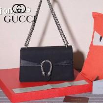 GUCCI 400249 歐美時尚新款女士黑色磨砂皮鏈條單肩晚宴包