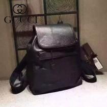 Gucci 322061 時尚新款黑色全皮雙肩包