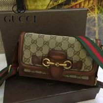 Gucci 382275-4 秋冬新款杏布配駝色皮女士郵差復古單肩斜挎包