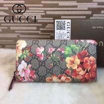 GUCCI 404071 人氣熱銷女士天竺葵印花系列粉紅色PVC長款拉鏈錢包