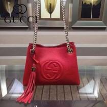 GUCCI 387043-3 潮流時尚mini紅色全皮雙Glogo鏈條單肩斜挎包