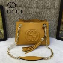 GUCCI 387043-4 潮流時尚mini黃色全皮雙Glogo鏈條單肩斜挎包