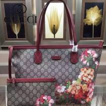 GUCCI 405020-2 專櫃最新款天竺葵系列PVC配棗紅色牛皮單肩購物袋