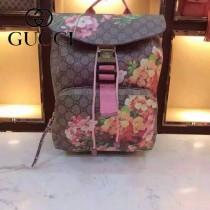 GUCCI 405019 專櫃最新款女士天竺葵系列粉紅色PVC束口雙肩包書包