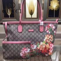 GUCCI 405020 專櫃最新款天竺葵系列PVC配粉色牛皮單肩購物袋