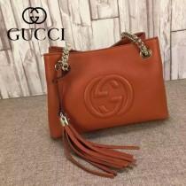 GUCCI 387043 潮流時尚mini橙色全皮雙Glogo鏈條單肩斜挎包