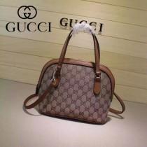 Gucci 341504-9 秋冬新款杏布配土黃色皮mini貝殼包