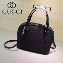 Gucci 341504-1 秋冬新款黑色布料配牛皮mini貝殼包