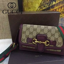 Gucci 382275-5 秋冬新款杏布配棗紅色皮女士郵差復古單肩斜挎包