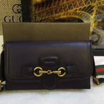 Gucci 382275-1 秋冬新款黑色全皮女士郵差復古單肩斜挎包