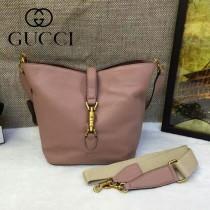 Gucci 380579-2 秋冬新款Jackie sof系列裸粉色全皮水桶包