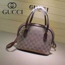Gucci 341504-7 秋冬新款杏布配裸粉色皮mini貝殼包