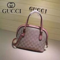 Gucci 341504-6 秋冬新款杏布配粉色皮mini貝殼包