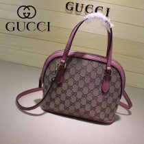 Gucci 341504-8 秋冬新款杏布配玫紅色皮mini貝殼包