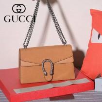 GUCCI 400249-3 歐美時尚新款女士土黃色磨砂皮鏈條單肩晚宴包