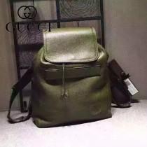 Gucci 322061-1 時尚新款軍綠色全皮雙肩包