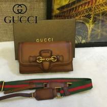 Gucci 382275 秋冬新款駝色全皮女士郵差復古單肩斜挎包