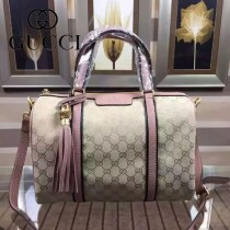 Gucci 353115-3 人氣熱銷新款杏布配裸粉色皮波士頓包
