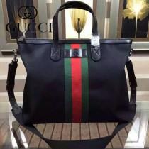 Gucci 368558-1  秋冬新款黑色布料配綠紅綠織帶单肩斜背包