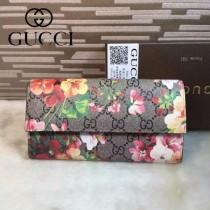 GUCCI 404070-2 專櫃最新款女士天竺葵印花系列咖啡色PVC翻蓋長款錢包