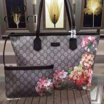 GUCCI 405020-3 專櫃最新款天竺葵系列PVC配咖啡色牛皮單肩購物袋