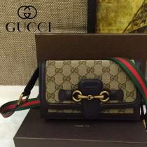 Gucci 382275-3 秋冬新款杏布配咖啡色皮女士郵差復古單肩斜挎包