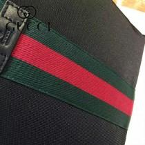 GUCCI 387111 人氣熱銷商務男士克色布配經典紅綠織帶單肩斜挎包