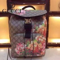 GUCCI 405019-2 專櫃最新款女士天竺葵系列咖啡色PVC束口雙肩包書包