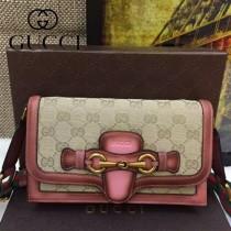 Gucci 382275-2 秋冬新款杏布配粉色皮女士郵差復古單肩斜挎包