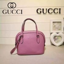 Gucci 341504-4 秋冬新款玫紅色全牛皮mini貝殼包