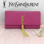 YSL 26578-7 歐美時尚新款玫紅色平紋牛皮流蘇手拿晚宴包單肩斜挎包