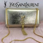 YSL 26594-7 歐美流行元素金色平紋牛皮流蘇鏈條單肩斜挎包