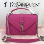 YSL 26604-5 潮流新款女士Monogramme bag玫紅色人字紋手提單肩包