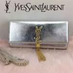 YSL 26578-9 歐美時尚新款銀色平紋牛皮流蘇手拿晚宴包單肩斜挎包