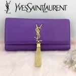 YSL 26578-10 歐美時尚新款紫色平紋牛皮流蘇手拿晚宴包單肩斜挎包