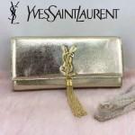 YSL 26578-5 歐美時尚新款金色平紋牛皮流蘇手拿晚宴包單肩斜挎包