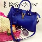 YSL 03-2 時尚白領經典款電光藍牛皮小號手提單肩包