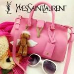 YSL 03-3 時尚白領經典款粉色牛皮小號手提單肩包