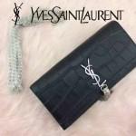 YSL 354119-2 時尚高貴奢華黑色鱷魚紋流蘇翻蓋單肩手拿晚宴包