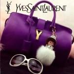 YSL 02-6 潮流經典款女士紫色牛皮手提單肩包通勤包