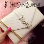 YSL 07 時尚優雅女士Paris系列白色羊皮繡花線單肩斜挎包