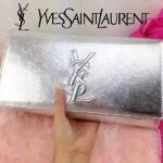 YSL 05-2 人氣百搭新款女士銀色牛皮翻蓋手拿晚宴包