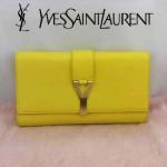 YSL 04-4 名媛必備新款黃色平紋牛皮翻蓋手拿晚宴包