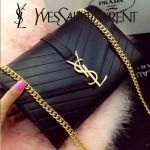 YSL 07-2 時尚優雅女士Paris系列黑色羊皮繡花線單肩斜挎包