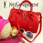 YSL 03-5 時尚白領經典款紅色牛皮小號手提單肩包