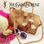 YSL 03-9 時尚白領經典款杏色牛皮小號手提單肩包
