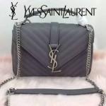 YSL 26604-4 潮流新款女士Monogramme bag灰色人字紋手提單肩包