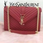 YSL 26588-3 時尚經典款MONOGRAMME紅色翻蓋單肩晚宴包