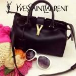 YSL 03-4 時尚白領經典款黑色牛皮小號手提單肩包