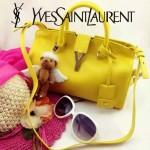 YSL 03-6 時尚白領經典款黃色牛皮小號手提單肩包